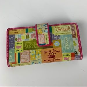 Fossil / Multi Color Logo Pattern Organizer Wallet